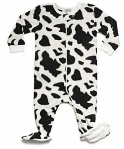Leveret Baby Boys Cow Black Fleece Footed Sleeper Pajama (Size 6M-5T)