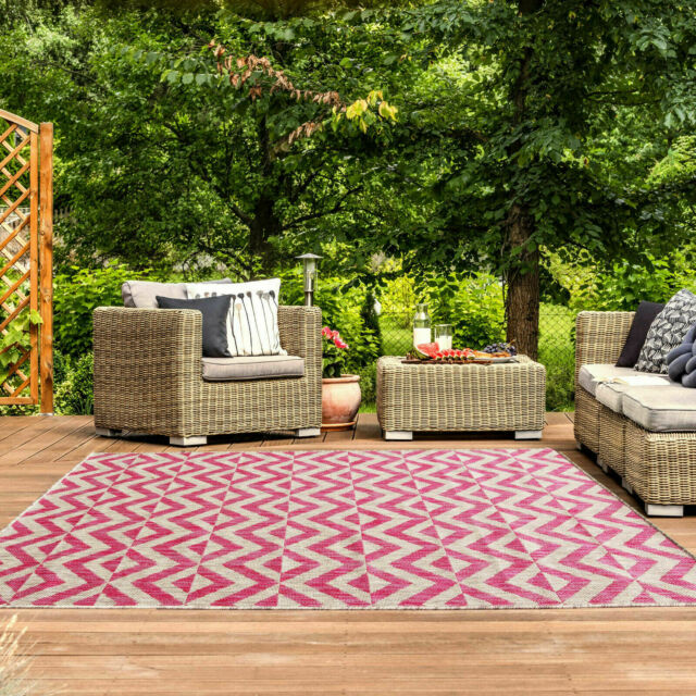 New Pink Blush Geometric Outdoor Patio Bbq Garden Washable Easy Clean Area Rug Ebay