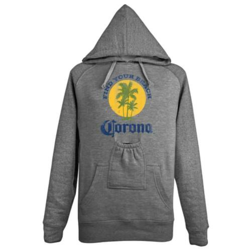 Corona Extra Find Your Beach Beer Pouch Hoodie Grey