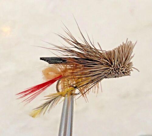 HOPPER PATTERN DAVES TAN DRY FLY FISHING TERRESTRIAL FLIES  SIZE #6 X 5 FLIES