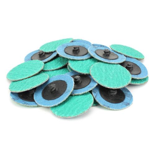 """200 Pack 2/"""" 40 Grit Zirconia+Grind Aid Quick Change Sanding Discs Type R Roloc"""
