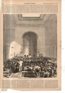 1871 Harper's Weekly original print only - The Fulton Street Prayer meeting