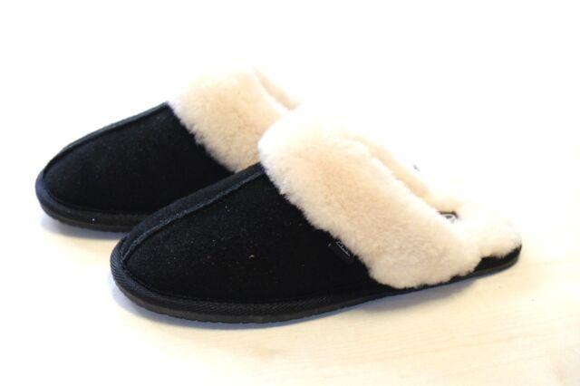 Clarks Donna Nero Camoscio Vero 100% LANA Riscaldato Pantofole 3/35.5, 4/37 D