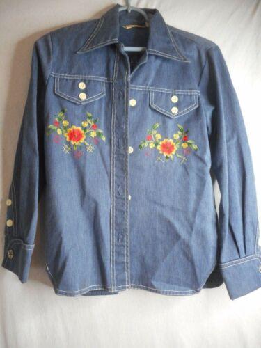 Vintage 60s 70s Floral Embroidered Shirt blue Deni