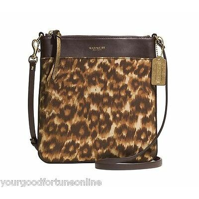 NWT COACH MADISON  SWINGPACK Crossbody OCELOT Leopard North South Brown 52104