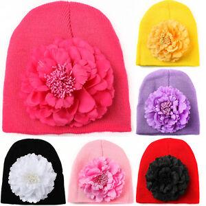 Toddler Kids Girl&Boy Baby Infant Winter Warm Crochet Knit Hat Beanie Floral Cap