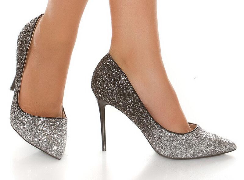 Señora pumps tacón alto clup glitzerpumps zapatos señora zapatos bicolor negro plata 38-41