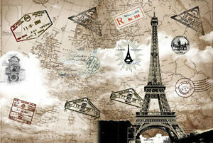 Image Is Loading 3D Eiffel Tower Vintage Paris Full Wall Mural