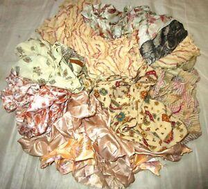 LOT-ART-SILK-Antique-Vintage-Sari-REMNANT-Fabrics-100-GRAMS-CRAFT-DOLL-JOURNAL