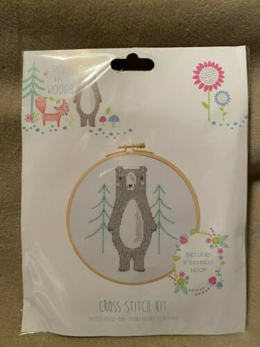 "Into The Woods Cross Stitch Kit /""Bear In The Woods/"" Includes 6/"" Bamboo Hoop"