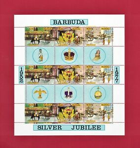 ULTRA-RARE-BARBUDA-1952-1977-SILVER-JUBILEE-MNH-CORONATION-STAMPS-SHEET-2