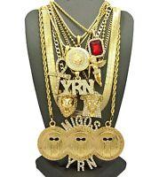Migosyrn,medusa,jesus,ankh,angel,ruby,herringbone Chain 9pcs Necklace Set Gn115g