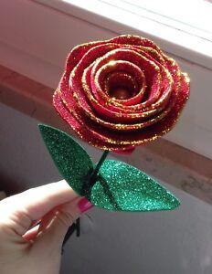 Regalo Natale Amore.Dettagli Su 3 Rose Rosse Glitterate Idea Regalo Matrimonio Anniversario Natale Amore