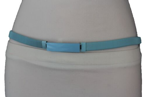 New Women Fashion Narrow Belt Light Blue Stretch Metal Skinny Elastic Band S M L