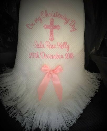 Personalised Christening shawl set  Celtic Cross  Any colour