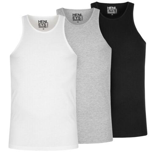 Henleys 3er-pack hommes sport mode Entraînement Tank Top Shirt Haut hmm0059 NEUF