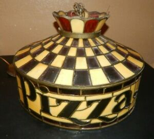 Vintage-Pizza-Hut-Tiffany-Style-Lamp-light-READ-CONDITION-DESCRIPTION