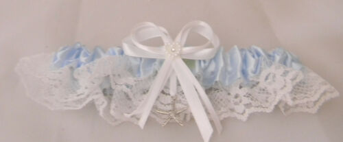 Wedding Party Ceremony Starfish Ocean Beach Satin Lace Garter  Blue Toss