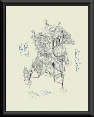 Apollo 11 Autograph Reprints Lunar Module Diagram On Fine Linen Paper *LP037