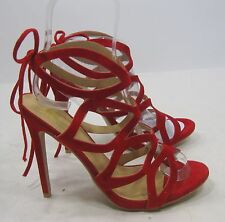 "Reds 5""high stiletto heel open toe lace up  sexy shoes Size  8"