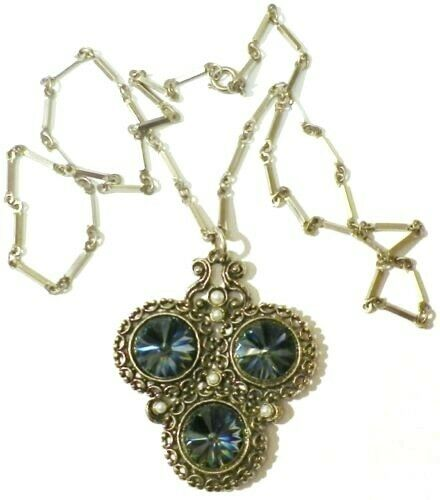 Pendentif chaine bijou vintage color or perle nacré cabochon blueté  4784
