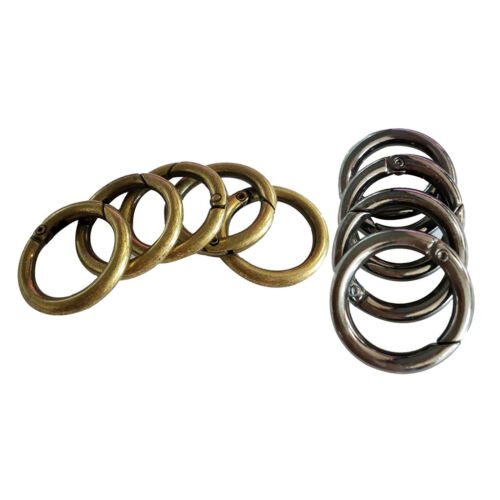 10Pc Metal Round Push Spring Gate Snap clip Hooks O Ring Keyring Buckles DIY