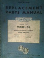 Kearney Amp Trecker Milwaukee Model Ck Milling Machines Part Manual Nos 4 5 6