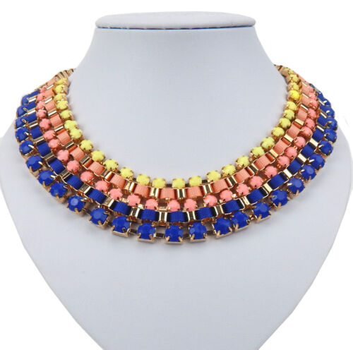 Chain Gold Blue Yellow Necklace M.Colourful Stones and textilbändern Ella Jonte
