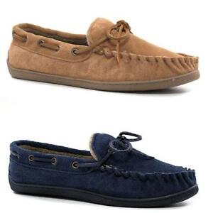 Para-Hombre-Cuero-Zapatillas-real-de-ante-de-imitacion-de-piel-de-oveja-de-piel-Mocasines-Mocasines