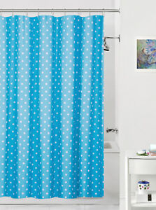 Image Is Loading Blue Amp White Polka Dot Fabric Shower Curtain