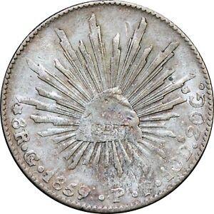 Mexico-8-Reales-Go-1859-7-P-F-Guanajuato-Overdate-KM-377-8