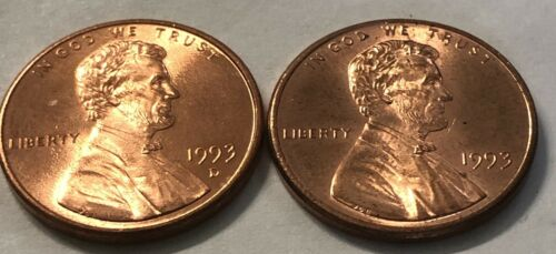 1993 P and D 2 Coin Lincoln Memorial Penny Set Near AU Condition