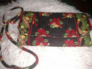18db7af31 Vera Bradley Strap Wallet Crossbody Hen and Holly Christmas Holiday ...