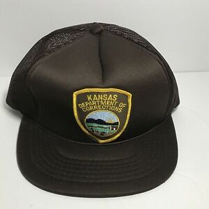 Details About Kansas Dept Of Corrections Snapback Truckers Cap Brownhat