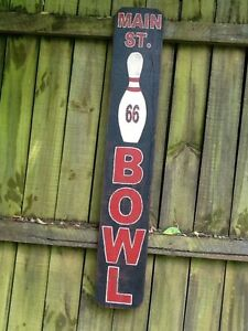 Route 66 Hand Painted Wooden Sign Main Street Bowl Bowling Alley