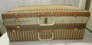 Vtg Suitcase Style Decorative Basket Woven Wicker Rattan Storage Picnic 23x14