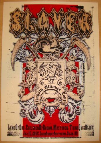 2006 Slayer w/ Lamb of God & Mastodon - Salem Silkscreen Concert Poster s/n