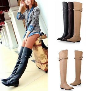 New Women fashion sexy long over the knee high boot flat boots ...