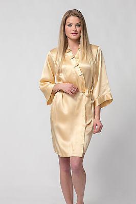 100% Silk, Women's short robe/wrap-Festival Season-Gold