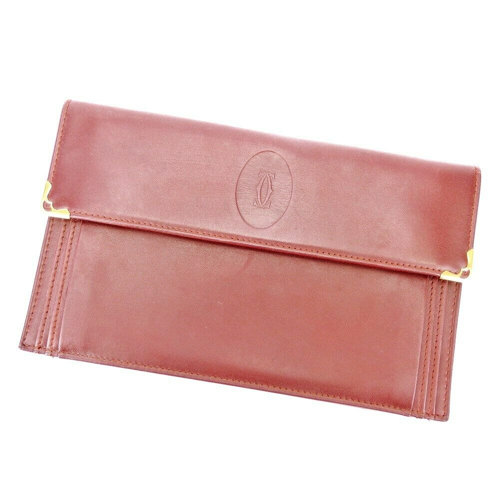 Cartier Travel Case Must Line Bordeaux Leather Auth used T17035