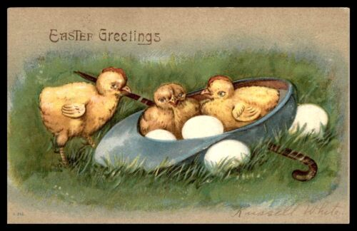 EASTER THREE BABY CHICKS AND SOME WHITE EGGS EMBOSSED 1908 R WHITE POSTCARD