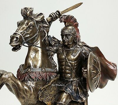 "13"" Alexander The Great on Horse Greek King Statue Bronze Finish Sculpture"