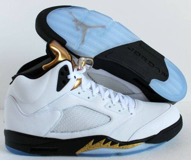 release date: f1748 8eea4 NIKE AIR JORDAN 5 RETRO WHITE BLACK-METALLIC GOLD GOLD MEDAL SZ 15