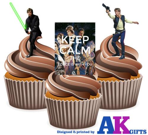 12 x Star Wars Han Solo Luke Skywalker Keep Calm Mix FUN EDIBLE CUP CAKE TOPPERS
