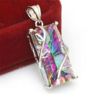 925-Silver-Fashion-Mystic-Rainbow-Topaz-Pendant-Chain-Chocker-Necklace-Party-New