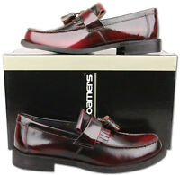 Mens New Oxblood Leather Slip On Toogle Tassel Loafer Shoes Size6 7 8 9 10 11 12