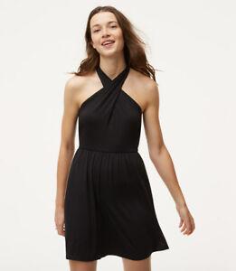 NWT-Ann-Taylor-Loft-Black-Halter-Dress-Summer-Dress-XS