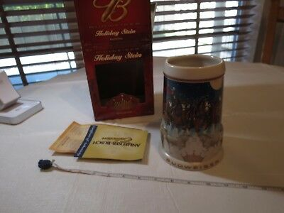 Budweiser RARE Stein 2005 mug Christmas CS628 Holiday horses COA Box Beer NOS