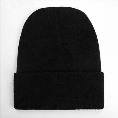 Unisex Cotton Knitted Ski Beanie Skull Hat Women Men Cuff Plain Winter Warm New
