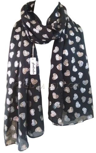 Glitter Heart Print Scarf Women/'s Love in Blue Pink Grey Black GlamLondon